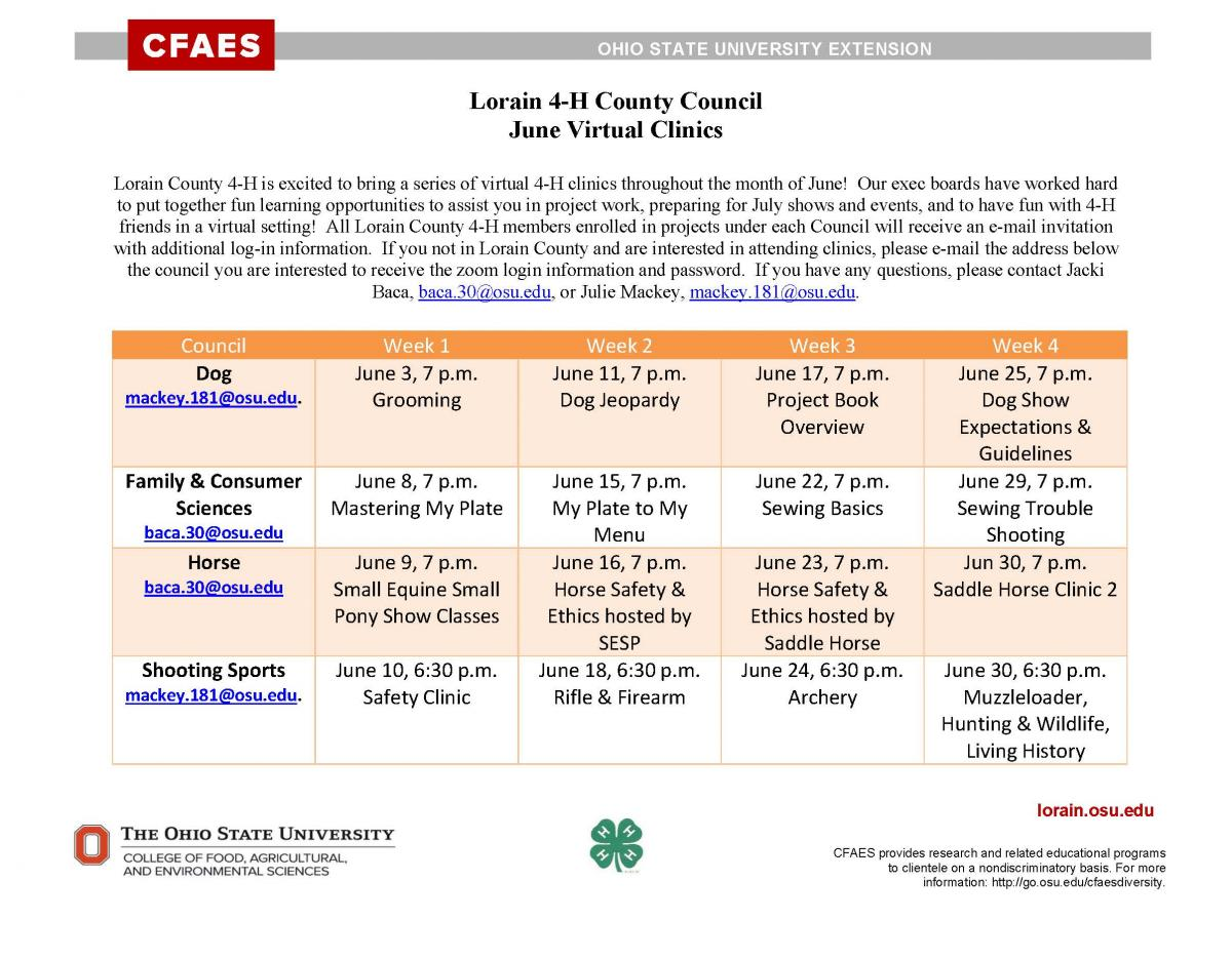 Lorain County June 4-H Virtual Clinics