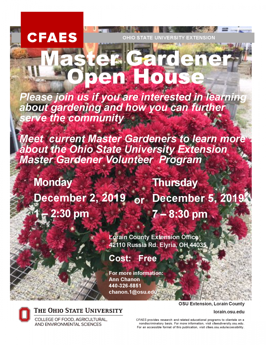 master gardener open house flyer